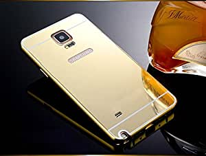 Kapa Luxury Mirror Effect Acrylic back + Metal Bumper Case Cover for Samsung Galaxy Note 4 - Gold