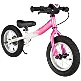 BIKESTAR® Premium Kids Safety Balance Bike for fashion-conscious princesses aged from 3 years ★ 12s Sport Edition ★ Flamingo Pink & Diamond White
