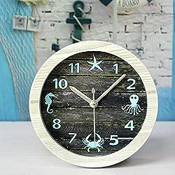 Alrens(TM)4.7 Nice Ocean Retro Distressed Wood Desktop Clock Vintage Creative Silent Non-ticking Quartz 3D Desk Clock Home Decor Bedroom Living Room Bell Clock Art Gift