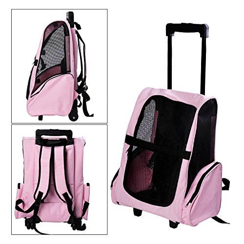 Tenive Dog Cat Pet Carrier Traveler Rolling Backpack w/Wheels,Pink
