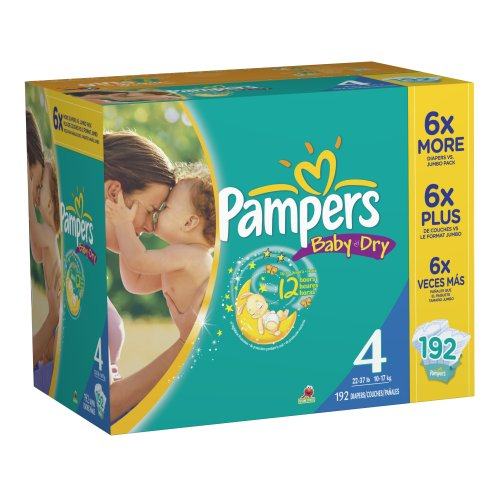 Pampers Baby Dry Tamaño 4 Pack Economía pañales Plus Conde 192