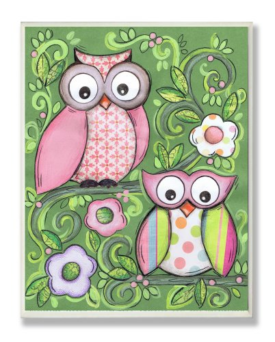 The Kids Room by Stupell Pair of Owls with Green Floral Background Rectangle Wall Plaque