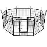Songmics 8-tlg Welpenauslauf für Hunde Kaninchen kleine Haustiere 80 x 80 cm schwarz PPK88H