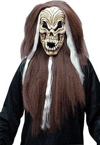 Screaming Skull + Long Straight Halloween HairMask, Fancy Dress, Accessory