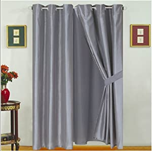 "Modern Grey Faux Silk Satin Windows Curtains / Drapes / Panels Set 120x63""(wxh)"