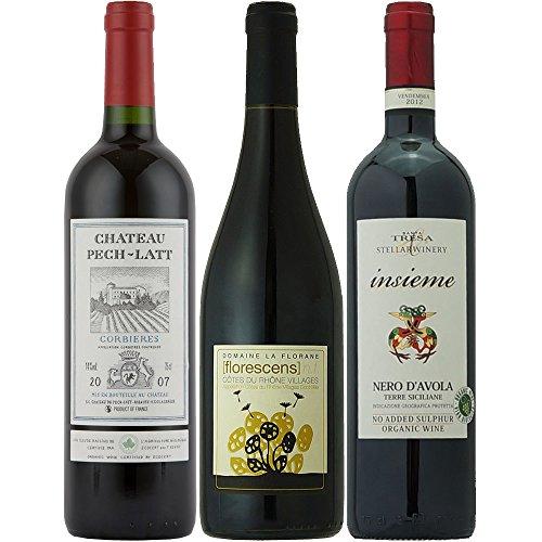 【Amazonバイヤー厳選】オーガニックワイン フランス・イタリア競演 赤 飲み比べ 750ml×3本セット