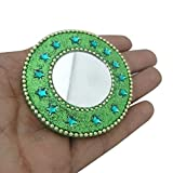 Decorative Indian Gift Mirror Travel Accessories Home Decor Table Top Antique Green Beaded Material Mirrors Designer Mirror Gift For Her