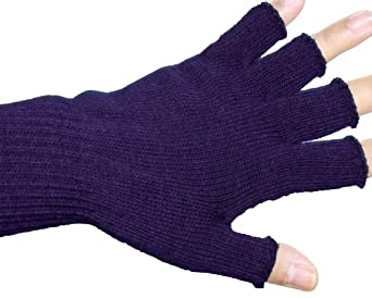 Unisex Warm Half Finger Stretchy Knit Gloves - Navy