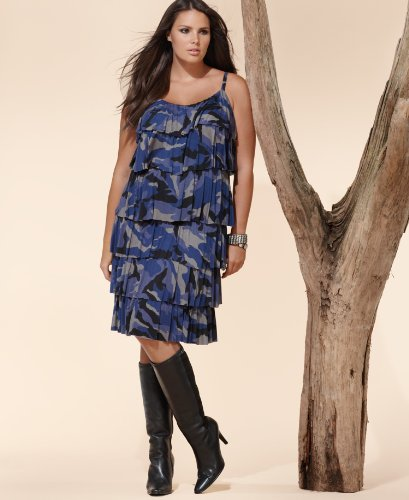 Sky Blue Sleeveless Tiered Ruffled Camouflage Dress