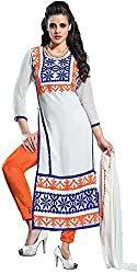 Aracruz Women's White Georgette Embroidered Dress Material