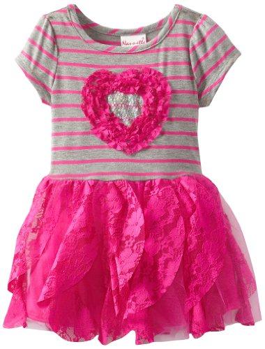 Nannette Little Girls' 1 Piece Stripped Heart In Heart Dress, Gray, 2T