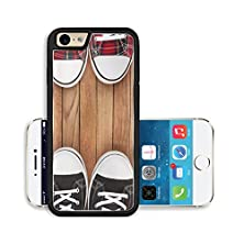 buy Liili Premium Apple Iphone 6 Iphone 6S Aluminum Snap Case Two Pairs Of Sneakers On Wooden Background Image Id 11082295