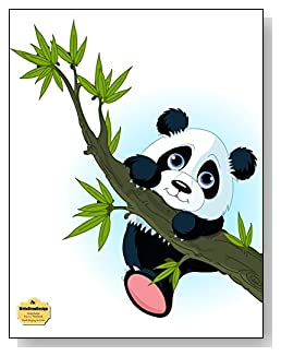 Panda Hanging On A Tree Notebook - Adorable cartoon panda hanging onto a tree makes a cute cover of this wide ruled notebook.