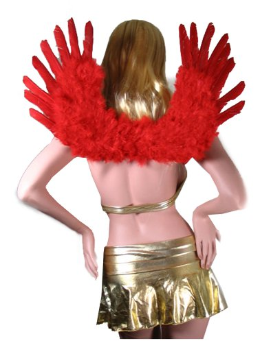 SACAS Large Red Feather Angel Fairy Wings with Free Halo for Cosplay Photo props