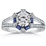 Forever-Brilliant-Art-Deco-Moissanite-Blue-Sapphire-Diamond-Engagement-Ring-1-35-ctw-14k-White-Gold