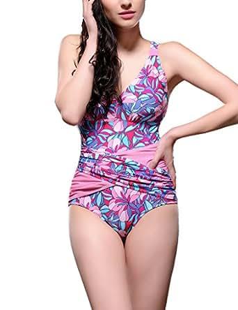 Surenow Womens One Piece Monokini Cover the belly slim