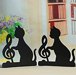 A Pair of Creative Playing Music Black Cat Lovely Cute Nonskid Bookend Bookends (music note)