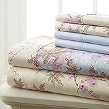 Spirit Linen Hotel 5Th Ave Prestige Home Collection 6 Piece Sheet Set, King, Beige Blue Floral