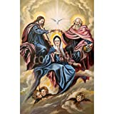 Artzloom God The Son, God The Father And The Mother Of God Canvas Art Print Without Frame - Size 25.2 Inch X 38.9...