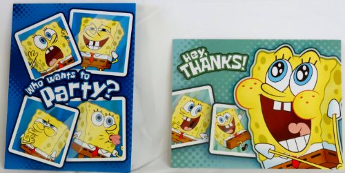 Spongebob Squarepants Birthday Invitations w/ Envelopes and Thank You Notes - (8 of Each) - 1
