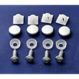 Rust Resistant Stainless Steel License Plate Frame Screws Fasteners + Chrome Screw Caps