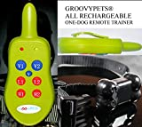 GROOVYPETS® 1-DOG ALL RECHARGEABLE TRAINER: RECHARGEABLE REMOTE WITH BELT-CLIP AND LANYARD PAIRED WITH RECHARGEABLE COLLAR TO SEND CONTROLLABLE VIBRATION AND SHOCK