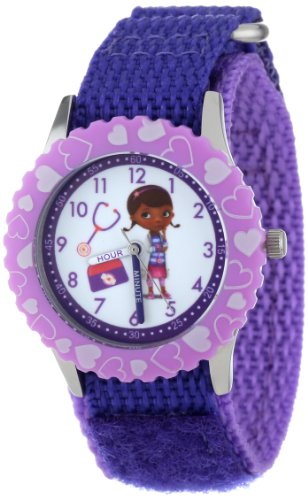 Disney Kids' W000909 'Doc McStuffins Time Teacher' Stainless Steel Watch with Purple Nylon Band