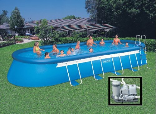 above ground covers intex 28 39 x 12 39 x 48 39 39 oval ellipse frame pool set complete w saltwater. Black Bedroom Furniture Sets. Home Design Ideas