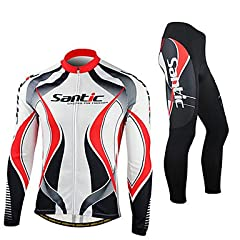 NEW-SANTIC-Mens Red and White Fleece Long Sleeve Thermal Cycling Suit , XXL by ELCE Stock