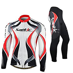 NEW-SANTIC-Mens Red and White Fleece Long Sleeve Thermal Cycling Suit , M by ELCE Stock