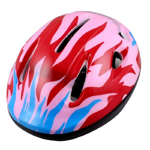 Como Adults Adjustable Strap Flame Pattern Pink Red Blue Foam Cycling Bike Helmet