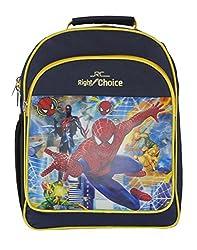 Right Choice Nursery,Lkg,Ukg,Kids,Girls,Boys, Spider Man,School bag,navy blue & yellow (RCS4046)
