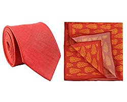 Chokore Red Silk Tie & Red and Orange Indian Design Pocket Square set