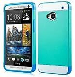 1X Hybrid TPU Silikon Strass Glitzer Hülle Hüllen Schutzhülle Tasche Etui Protection Case Protective Cover für HTC One M7 - Grün Türkis + Weiß + Blau Sky Blue