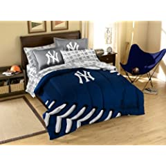 New York Yankees 7 Pc FULL Size Bed in a Bag (Comforter, 1 Flat Sheet, 1 Fitted... by Northwest