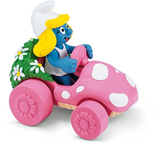 Schleich Smurfette in Car Toy Figure - 1