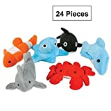 Sea-life Plush Toys - 3 Inches - 24 Assorted Pieces - For Kids, Babies, Adults, Decorations, Bedtime, Sleep, Play, & Education - Kidsco