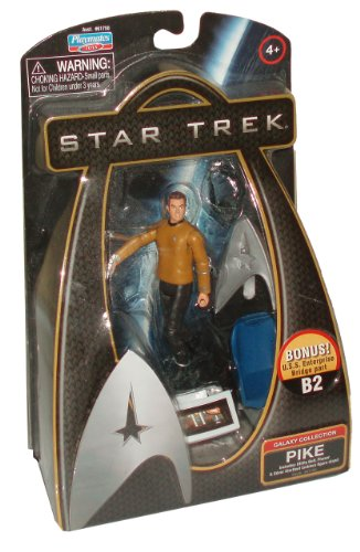 Buy Low Price Playmates Star Trek Movie Series Galaxy Collection 4 Inch Tall Action Figure – PIKE with Utility Belt, Phaser and Silver Starfleet Emblem Figure Stand Plus Bonus U.S.S Enterprise Bridge Part B2 (B003H1JQR2)