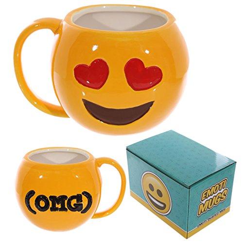 Coole Emoji/Whats App Smiley tazze in ceramica OMG (lachendes Face con cuore occhi), Emoticon