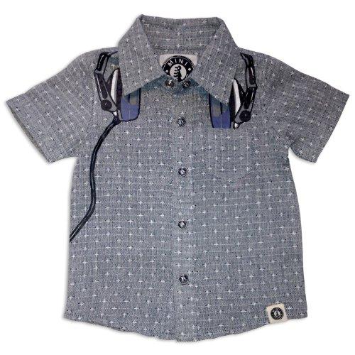 Mini Shatsu Polka Dot Headphone Snap Shirt-6-Grey