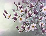 """""""Magnolias in Moonlight"""", Poetic Magnolia Blossoms Glow Pink and Purple in the Moonlight, Giclée Print, Various Sizes"""