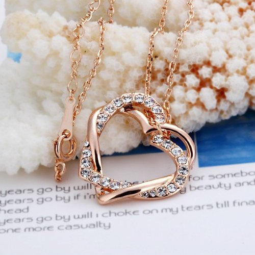 Forever Love Intertwined Heart Austrian Crystal Necklace