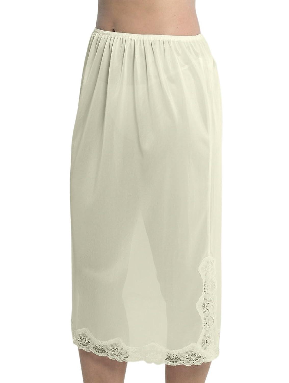 Marlow Damen Unterrock aus seidigem Polyester mit Spitze an der Unterseite, ca. 73 cm Länge, verschiedene Farben und Größen jetzt bestellen