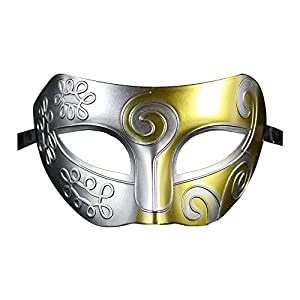 Coofit® Retro Roman Gladiator Halloween Party Masks Man Woman Children Masquerade Mask (Silver & Gold) by Coofit