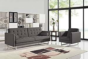 Amazon.com - Divani Casa Bauxite Modern Grey Fabric Sofa Set -