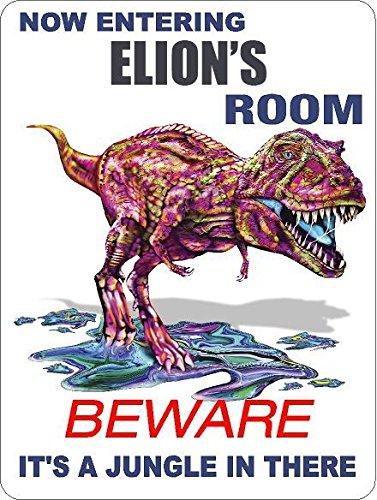 9x12-aluminum-elion-room-colorful-t-rex-dinosaur-its-a-jungle-novelty-sign