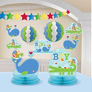 Ahoy baby room decorating kit blue boy shower for Baby boy shower decoration kits