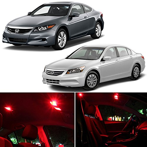 Honda Accord 2003-2012 Red Premium Led Interior Lights Package Kit (8 Pieces)
