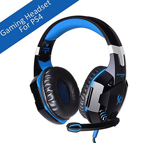 [Latest Version Gaming Headset For PS4] VersionTech KOTION EACH G2000 USB 3.5mm Game Gaming Headphone Headset Earphone Headband with Mic Stereo Bass LED Light for PS4 PC Computer Laptop Mobile Phones Blue