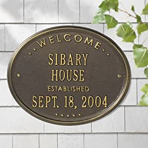 Welcome 'House' Garden Plaque Finish: Bronze and Gold